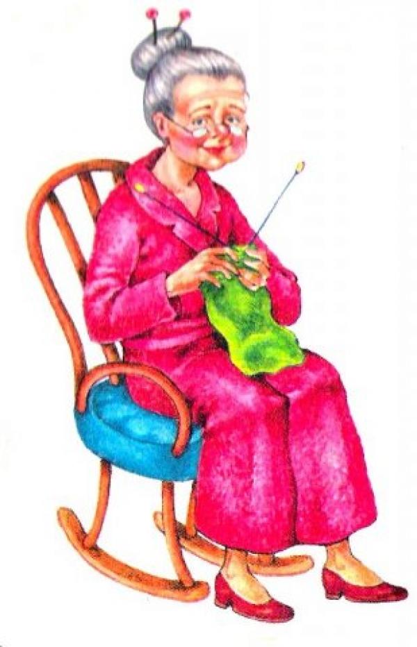Картинки для детей бабушка вяжет шарф